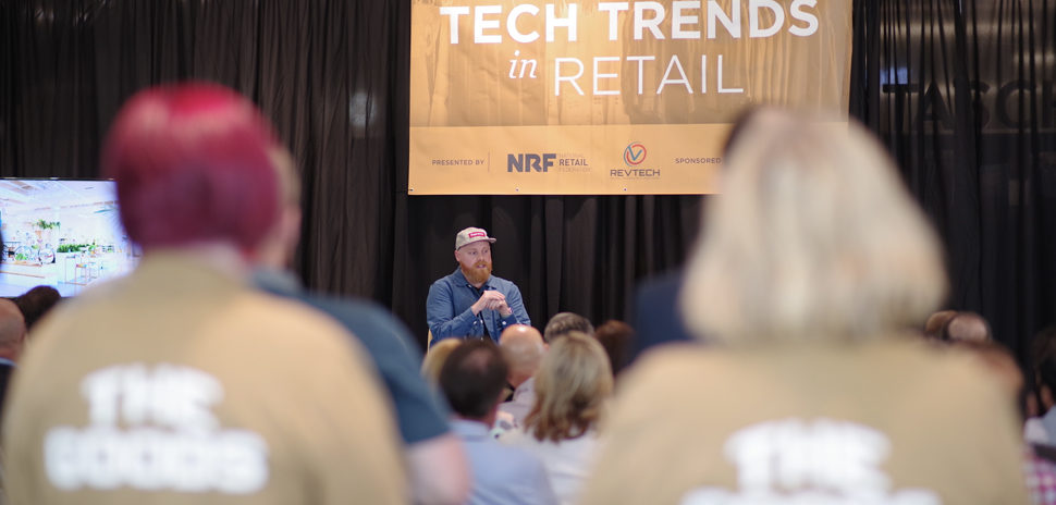 Matt Alexander speaking at the RevTech annual event in 2019: Tech Trends in Retail. The event was held in Plano, Texas at Neighborhood Goods.