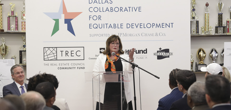 TREC CEO Linda McMahon at the JPMorgan Chase-TREC press conference at St. Philip's School and Community Center on Thursday.