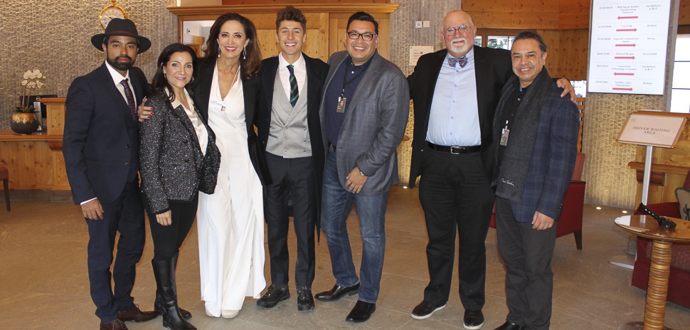 From left: Marty Martinez, Founder & CEO, Social Revolt Agency; Raquel Tamez, CEO, Society of Hispanic Professional Engineers; Claudia Romo Edelman, Founder, We Are All Human Foundation; Juanpa Zurita, social media influencer; Dr. Robert Rodriguez, President, DRR Advisors; Miguel Alemany, Chair of the Board, Society of Hispanic Professional Engineers; Jesse Martinez, Founder, Latino Startup Alliance (Editors note: Zurita was not a part of the Hispanic Delegation.)