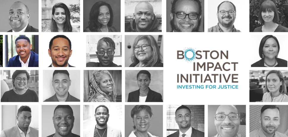 Benjamin Vann and Brandon Anderson (pictured second row, from left) were selected as Boston Impact Initiative fellows to join 24 other leaders throughout the nation working to build place-based integrated capital funds.
