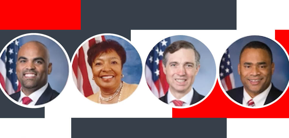 Congressional representatives Colin Allred, Eddie Bernice Johnson, Van Taylor, and Marc Veasey gathered for a virtual panel hosted by the Dallas Regional Chamber in September 2020.