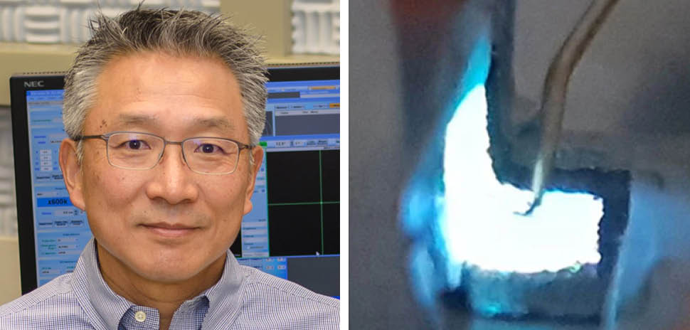 Dr. Moon Kim, Louis Beecherl Jr. Distinguished Professor of Materials Science and Engineering at UT Dallas shown with the research team's bendable electronics. [Images: Courtesy of UTD]