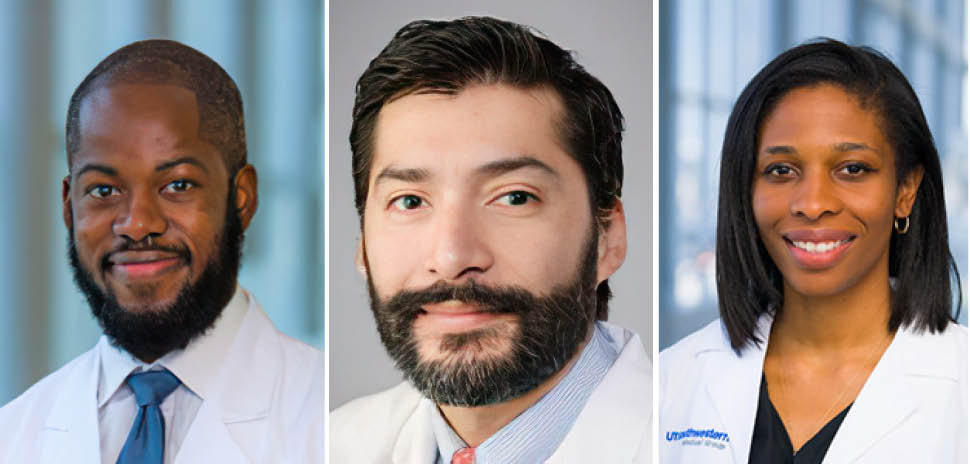"""This year's winners from UT Southwestern —Olutoyosi """"Toy"""" Ogunkua, M.D., Luis Sifuentes-Dominguez, M.D, and Chika Nwachukwu, M.D., Ph.D.—bring the total number grants awarded by the Council since its founding five years ago to nine. [Images via UTSW]"""