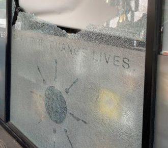 cafe momentum smashed window