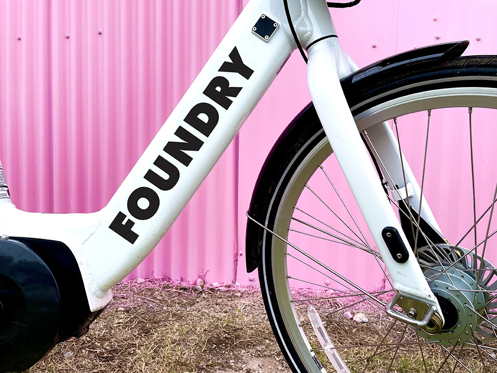 """The Foundry district sports specially branded bikes—and will debut  """"unicorn cycles"""" with design and art by M2G's chief creative officer Katie Murray."""