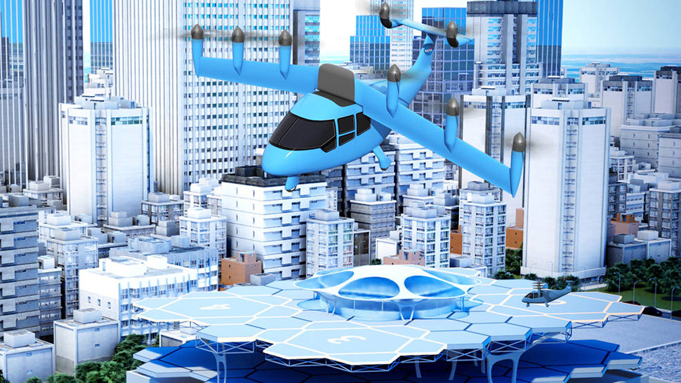 A NASA illustration depicts the idea of a future air taxi hovering over a municipal vertiport. [Rendering: NASA/Lillian Gipson and Kyle Jenkins]