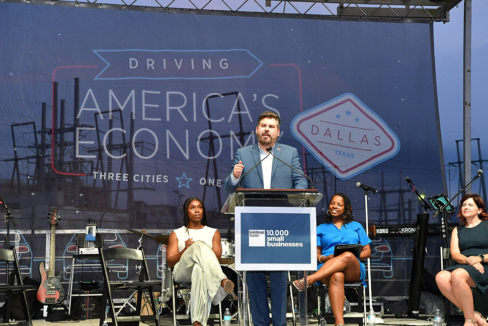 Dr. Justin Lonon, vice chancellor of Dallas College, addresses the crowd at the recent Goldman Sachs 10,000 Small Businesses Dallas Graduation. [Photo: 10KSB]