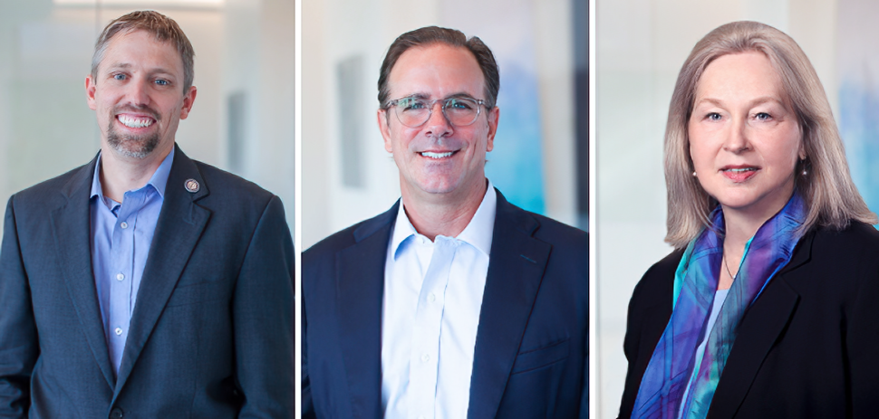 From left: Bios Partners co-founders Aaron Fletcher, Les Kreis, and Stella Robertson. [Photos: Bios Partners]